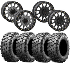 System 3 SB-5 Black Beadlock Wheel and Maxxis Carnivore Tire Kit