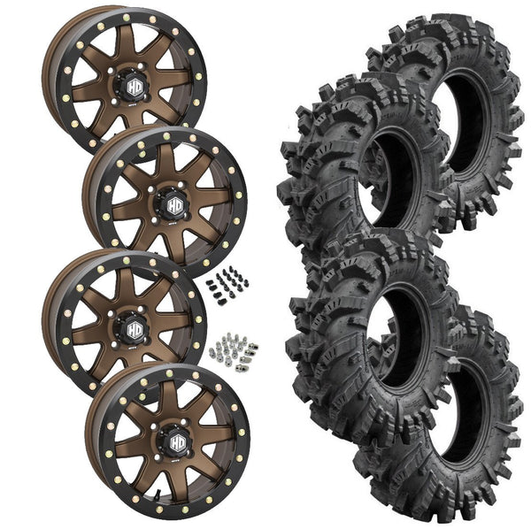 Superatv Intimidator STI HD9 Bronze Beadlock Tire Wheel Kit 26.5-10-14