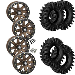 Superatv Terminator STI HD9 Bronze Beadlock Tire Wheel Kit 28-12-14
