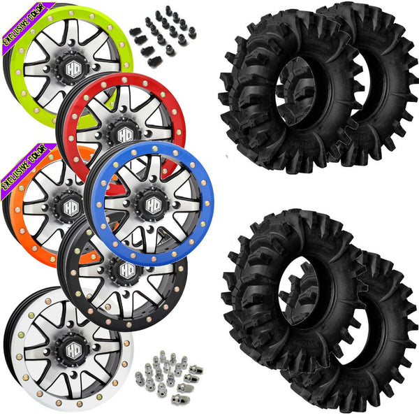 Superatv Terminator STI HD9 Machined Beadlock Tire Wheel Kit 32-10-14