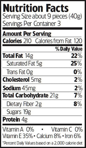 Nutrition Facts Chocolate Toffee Almonds