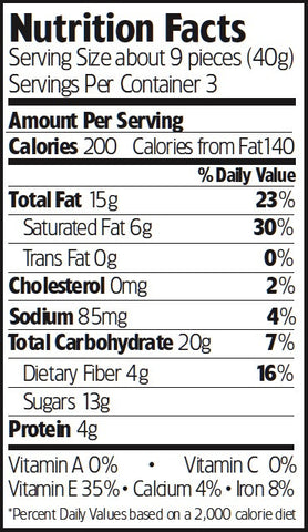 Nutrition Facts Dark Chocolate Chipotle Almonds