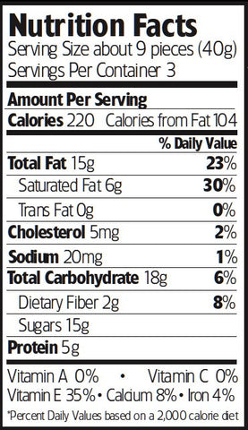 Nutrition Facts Milk Chocolate Almonds