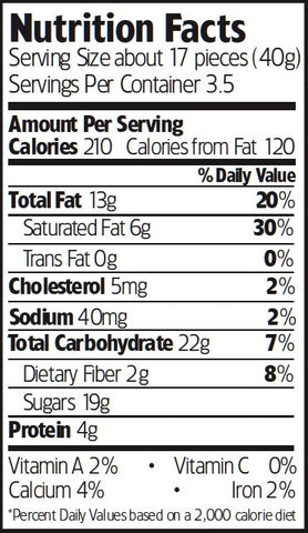 Nutrition Facts Organic Chocolate Toffee Pistachios