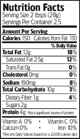 Nutrition Facts Organic Curry Spiced Cashews