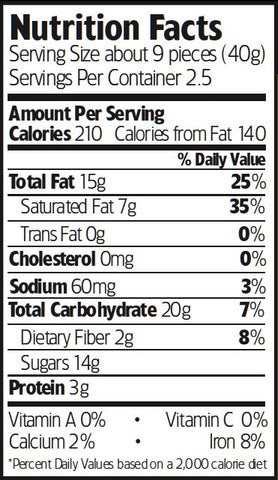 Nutrition Facts Organic Dark Chocolate Sea Salt Cashews