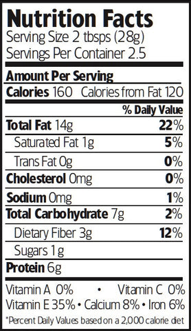 Nutrition Facts Organic Oven Roasted Almonds