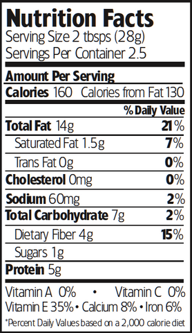 Nutrition Facts Organic Tamari Almonds
