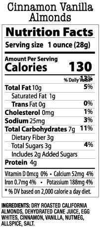 Nutrition Facts- Cinnamon Vanilla Almonds