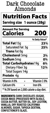 Nutrition Facts-Dark Chocolate Almonds
