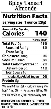 Nutrition Facts- Spicy Tamari Almonds