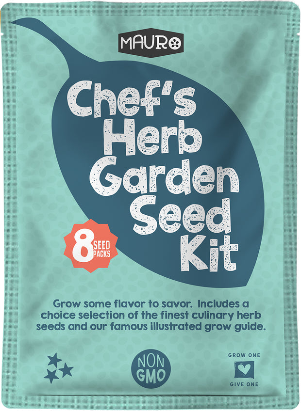 Chef's Herb Garden Seed Kit includes 8 packs of herb seeds including Basil, Cilantro, Oregano, Thyme, Sage, Dill, Parsley and Chives. Plus lean how to grow herbs with our famous 24 page illustrated growing guide. For outdoor herb gardens, indoor herb garden, kitchen herb gardens. Indoor and container friendly