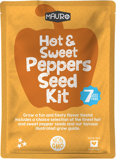 Hot & Sweet Peppers Seed Kit includes 7 packs of pepper seeds including Jalapeno, Cayenne, Poblano, Santa Fe, Red Bell, Banana and Pimento.  Plus lean how to grow peppers from seed with our famous 24 page illustrated growing guide.