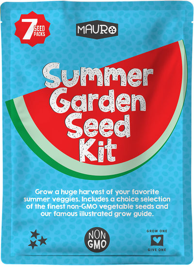 Summer Garden Seed Kit.  Summer Garden Seed Kit includes 7 packs of garden seeds featuring watermelon seeds, sweet corn seeds, okra seeds, cucumber seeds, squash seeds, zucchini seeds and squash seeds.  And learn how to grow vegetables with Garden 1.0, our famous illustrated guide to help you grow your first summer vegetable garden.