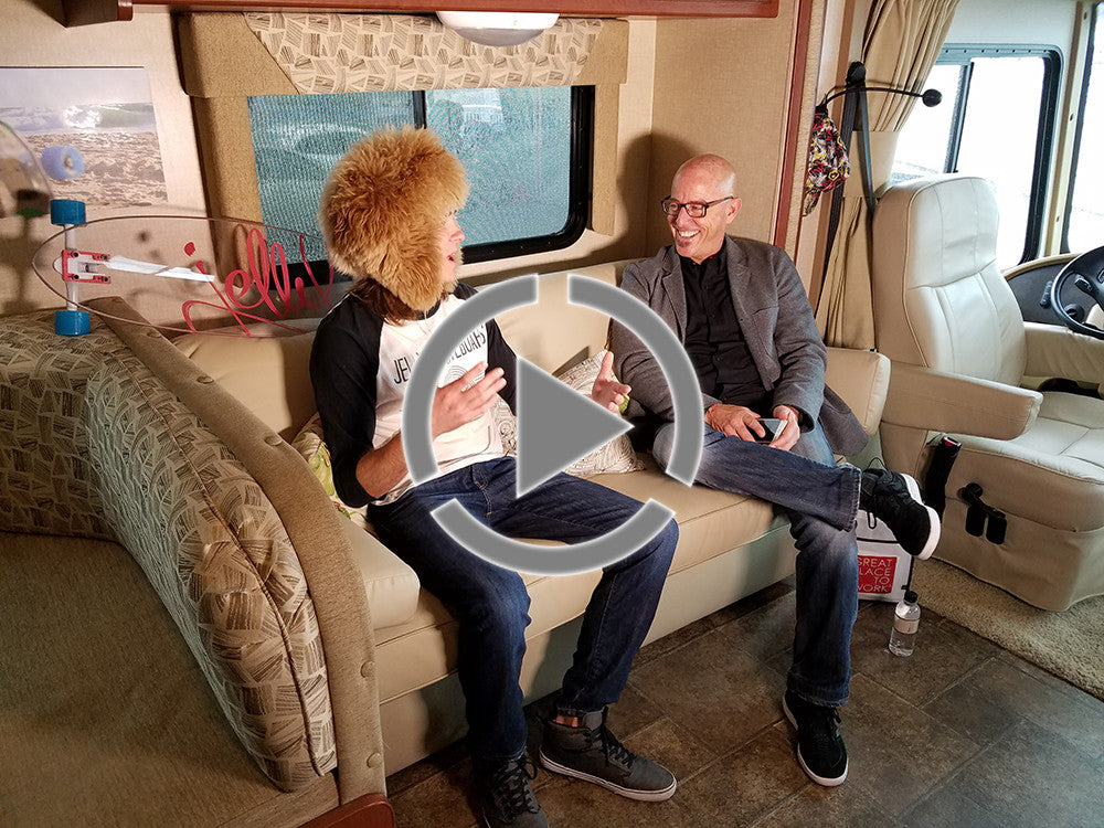 Godaddy CEO Blake Irving Interviews Jelly Skateboards CEO Sven in the Jelly Bus