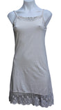 Stretchy Knit Cotton Dress Slip with Lace Trim