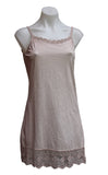 Stretchy Cotton Dress Slip with Tulle Lace Trim