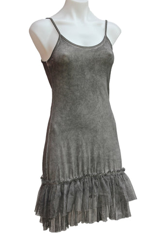 Stretch Tank Dress Extender Slip with Lace Tulle Trim