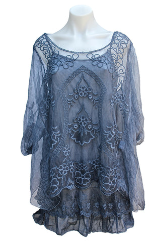 TWO PIECE SILK & VISCOSE LACE SHORT DRESS/TUNIC