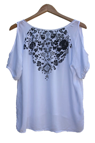 Open Shoulders Paisley Top