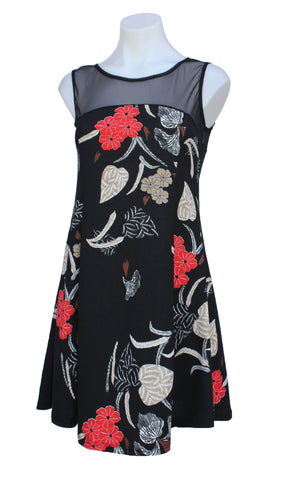 Sleeveless Floral Dress with Sheer Insert