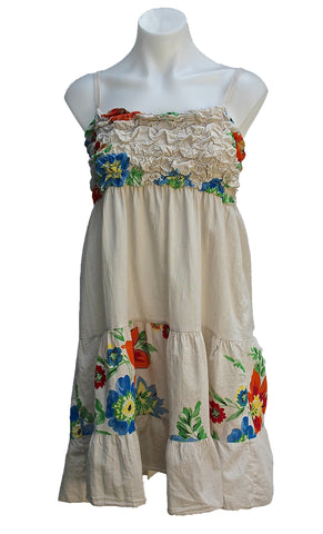 FLORAL SUN DRESS WITH SHIRRED TOP