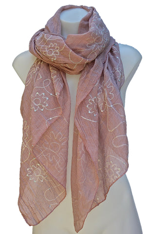 Long Scarf/Wrap/Shawl with Embroidered Flowers