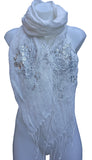 Long Linen Scarf Shawl with Embroidery