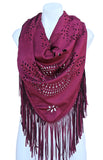Terra Nomad Faux Suede Fringed Triangle Shawl Scarf