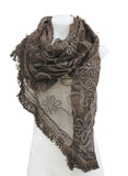 Sheer Floral Lace Fringed Shawl/Scarf