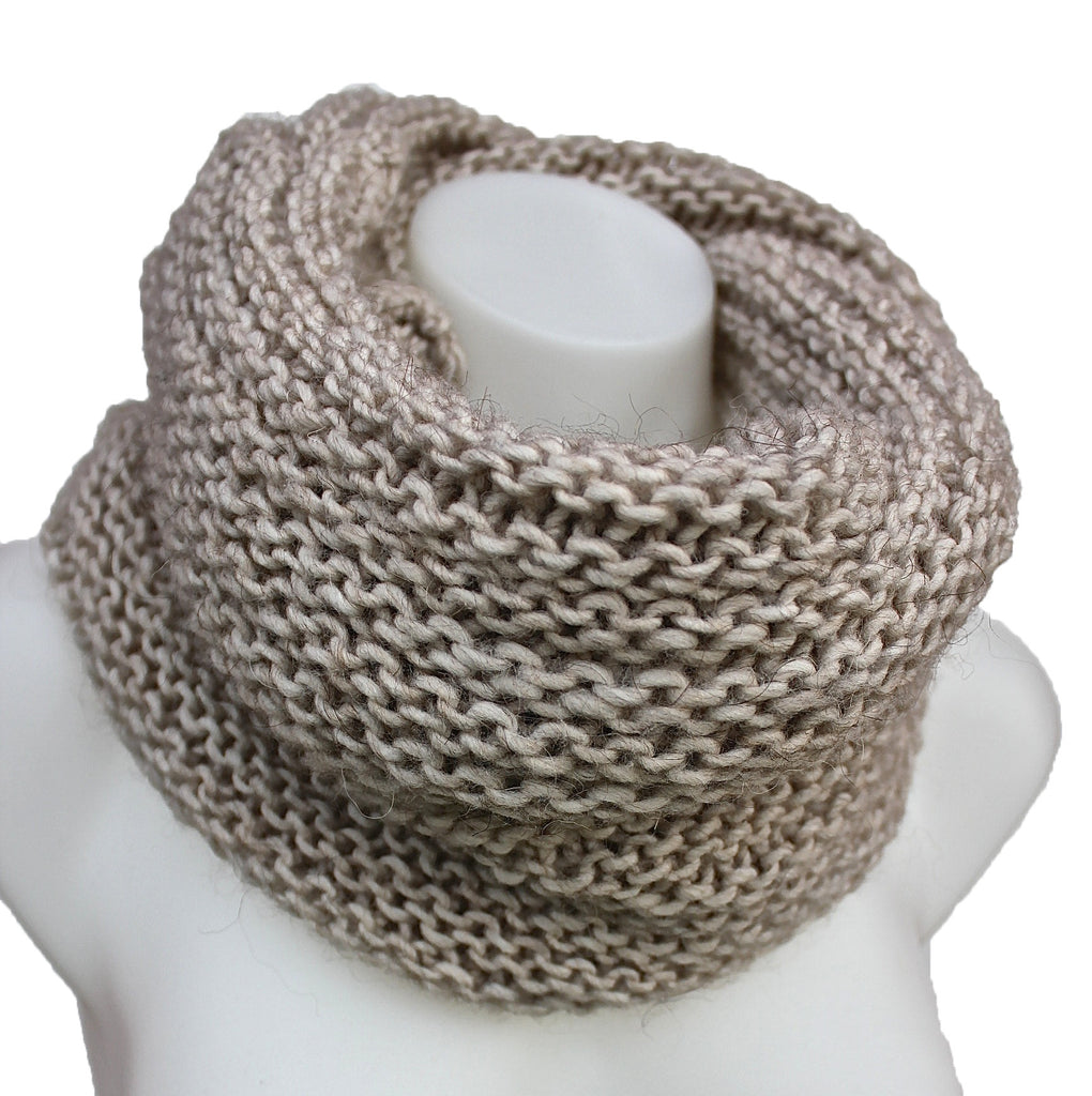 Chunky Cable Knit Snood Infinity Scarf Neck Warmer - Sand – Terra Nomad