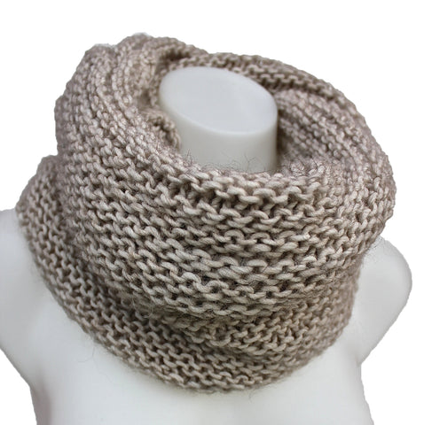 Chunky Cable Knit Snood Infinity Scarf Neck Warmer - Sand