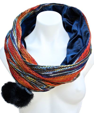 VELVET LINED SNOOD/INFINITY SCARF/NECK WARMER WITH POM POMS - ORANGE/VINTAGE BLUE