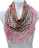 Terra Nomad Double Sided Polka Dot Paisley Triangle Scarf