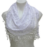 SHEER FLORAL LACE TRIANGLE SCARF