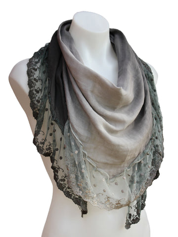Vintage Inspired Triangle Scarf with Sheer Lace Trim