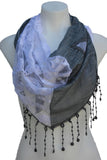 Lace Triangle Scarf with Rosettes