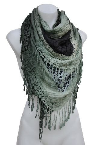 Cotton & Knit Triangle Fringed Scarf Shawl