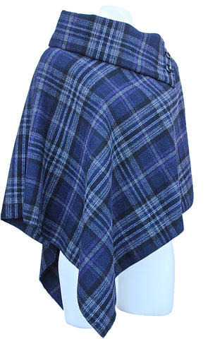 Checkered Wool Blend Poncho