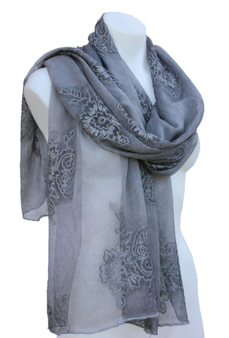 Sheer Silk & Cotton Scarf Shawl with Embroidered Flowers
