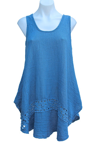 LINEN & COTTON SUN DRESS W/ CROCHET DETAIL