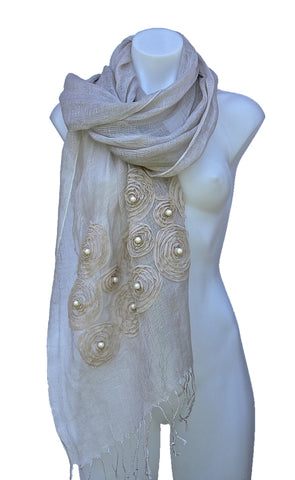 Sand Linen Scarf/Shawl with Rosettes and Beads