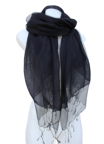Black Sheer Silk Scarf