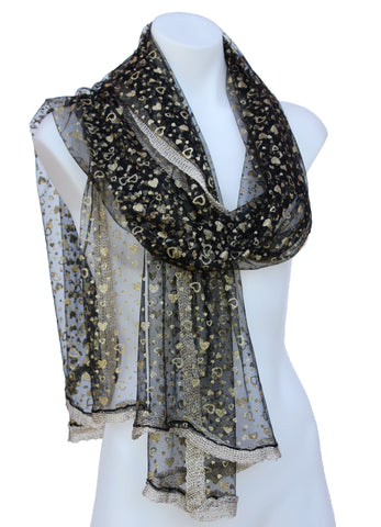 Sheer Shimmering Scarf with Gold Trim