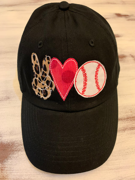 Leopard Peace Love Baseball Softball Hat