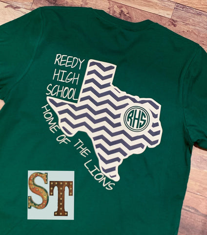 Green Reedy Chevron Texas long sleeve Tee