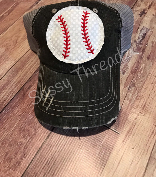 Baseball Trucker Fabric Sewn Applique Hat