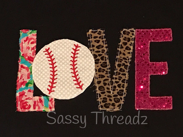 Love Baseball Fabric Appliqué Tee