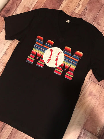 Serape Baseball Mom v-Neck Fabric Appliqué Tee