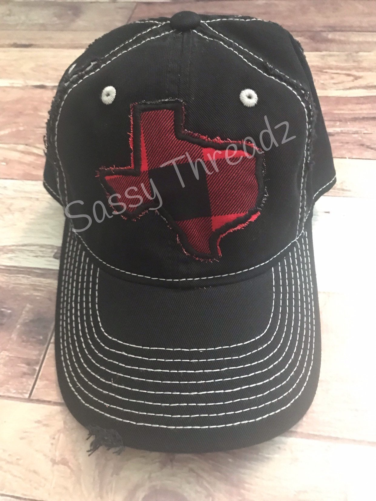 Plaid Texas Fabric Sewn Applique Hat